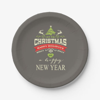 Christmas Vintage Deer Word Art | grey Paper Plate