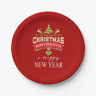 Christmas Vintage Deer Word Art | red Paper Plate
