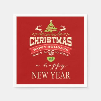 Christmas Vintage Deer Word Art | red Disposable Napkin