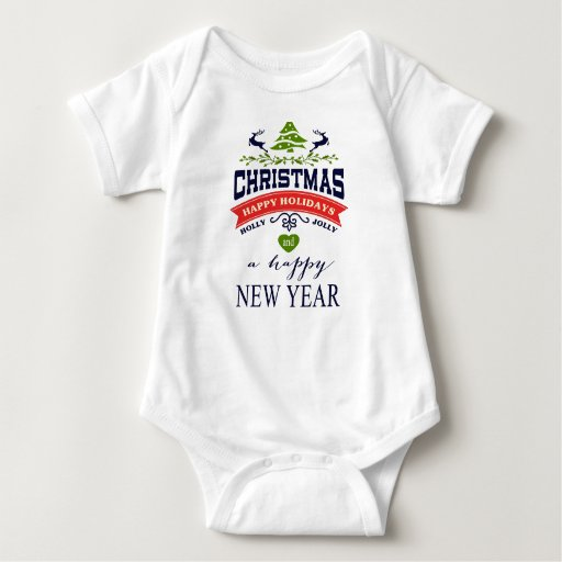Christmas Vintage Deer Word Art Typography Baby Bodysuit