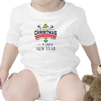 Christmas Vintage Deer Word Art Typography Baby Creeper