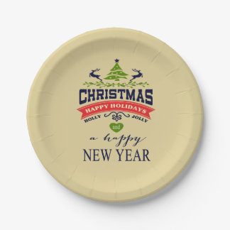 Christmas Vintage Deer Word Art | wheat Paper Plate