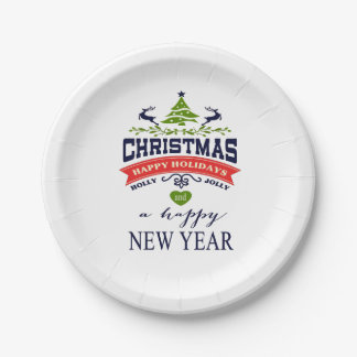 Christmas Vintage Deer Word Art | white Paper Plate
