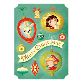 Christmas Vintage Dolls and Reindeer Card