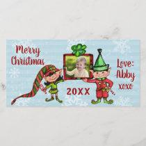 Christmas Vintage Elves Cute Custom Photo Card