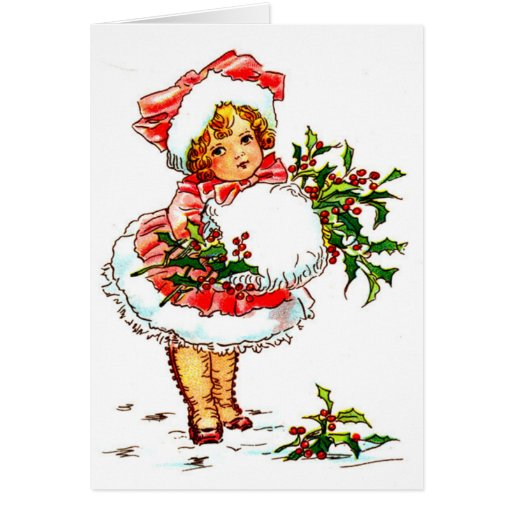 Christmas Vintage Girl Greeting Card