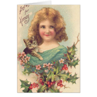 Christmas Vintage Girl With Cat Card