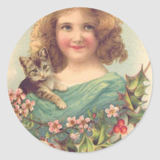 Christmas Vintage Girl With Cat Classic Round Sticker