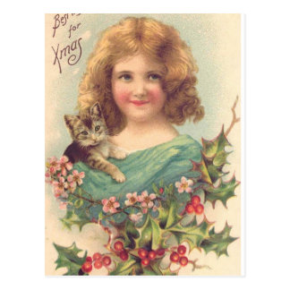 Christmas Vintage Girl With Cat Postcard