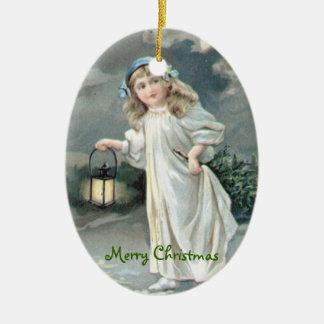 Christmas Vintage Girl Xmas Tree Ceramic Ornament