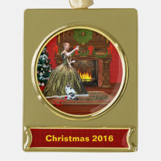 Christmas, Vintage, Holiday Toast, Customizable Gold Plated Banner Ornament