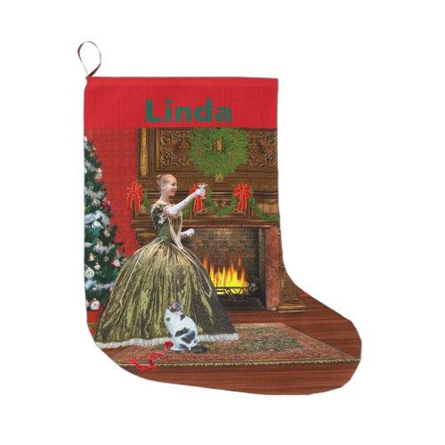 Christmas, Vintage, Holiday Toast, Customizable Large Christmas Stocking