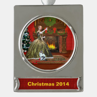 Christmas, Vintage, Holiday Toast, Customizable Silver Plated Banner Ornament