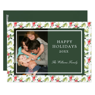 Christmas   Vintage Holly, Berry & Pine Pattern Card