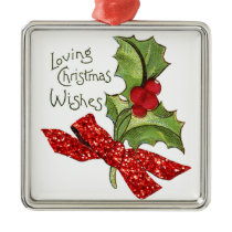 Christmas Vintage Holly with 'Glitter' Bow Metal Ornament