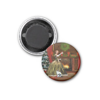 Christmas, Vintage Home, Holiday Toast 1 Inch Round Magnet