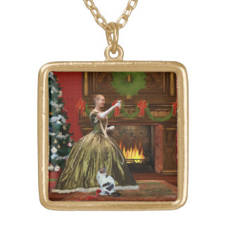 Christmas, Vintage Home, Holiday Toast Gold Plated Necklace