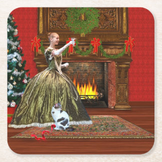 Christmas, Vintage Home, Holiday Toast Square Paper Coaster