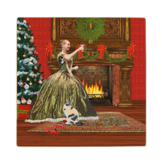 Christmas, Vintage Home, Holiday Toast Wooden Coaster