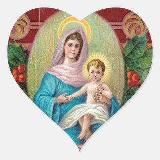 Christmas Vintage Mary Heart Sticker