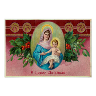 Christmas Vintage Mary Posters