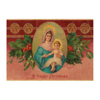Christmas Vintage Mary Photo Cork Paper