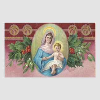 Christmas Vintage Mary Rectangular Sticker