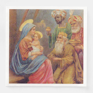 Christmas Vintage Nativity Jesus Illustration Paper Dinner Napkin