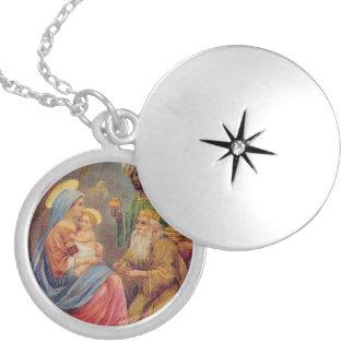 Christmas Vintage Nativity Jesus Illustration Silver Plated Necklace