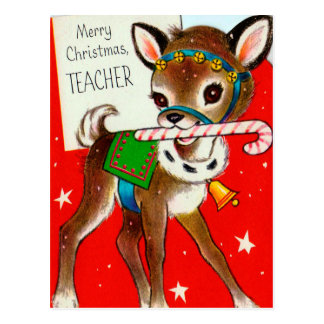 Christmas Vintage retro Deer Teachers postcard