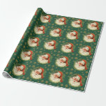 """Christmas Vintage Santa Claus Watercolor  Holiday Wrapping Paper<br><div class=""""desc"""">Christmas Vintage Santa Claus Watercolor Holiday Wrapping Paper.</div>"""