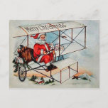 Christmas Vintage Santa on airplane Holiday Postcard