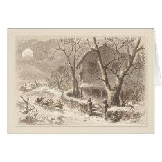 Christmas Vintage Santa Sleighs In Moonlight Card at Zazzle