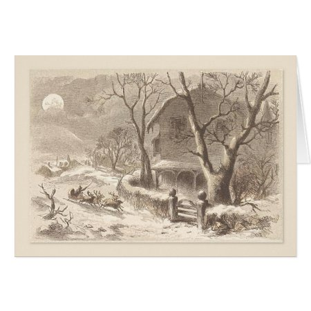 Christmas Vintage Santa Sleighs In Moonlight Card