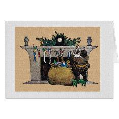 Christmas Vintage Santa Stocking And Holly Card at Zazzle