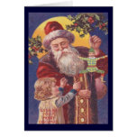 Christmas Vintage Santa with Child and Toy Greeting Cards