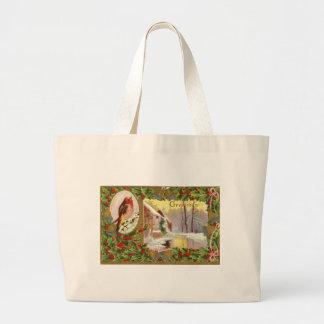 Christmas Vintage Scene Canvas Bag