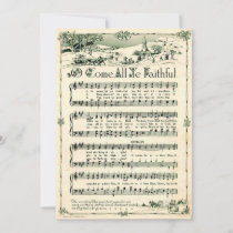 Christmas, Vintage Sheet Music, Custom Holiday Card