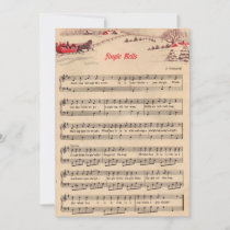 Christmas, Vintage Sheet Music, Jingle Bells Holiday Card