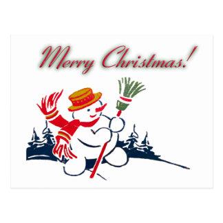 Christmas Vintage Snowman Postcard