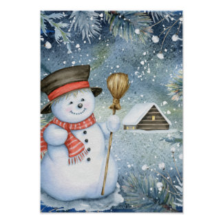 Christmas vintage snowman poster