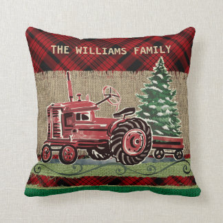 Christmas Vintage Tractor Red Plaid Faux Burlap Throw Pillow