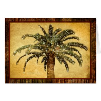 Christmas Vintage Tropical Palm Tree w Snowflakes Card