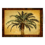 Christmas Vintage Tropical Palm Tree w Snowflakes Card