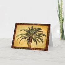 Christmas Vintage Tropical Palm Tree w Snowflakes Holiday Card