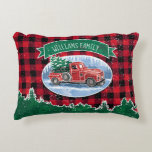 "Christmas Vintage Truck Add Name Accent Pillow<br><div class=""desc"">Add your family name to this holiday pillow featuring a winter scene of a classic red pickup truck driving through the snow, a fresh Christmas tree in the back. A wreath decorates the side of the truck and a green banner above has a family name for you to personalize with...</div>"
