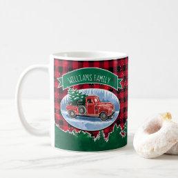 Christmas Vintage Truck Add Name Coffee Mug