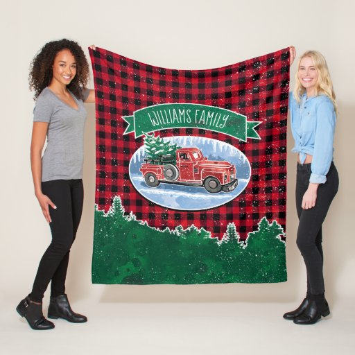 Christmas Vintage Truck Fleece Blanket