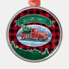 Christmas Vintage Truck Add Name Metal Ornament at Zazzle