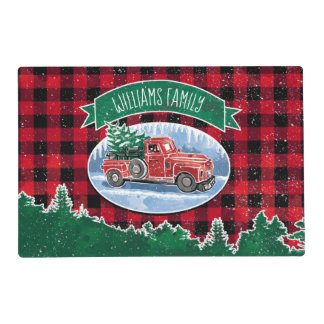 Christmas Vintage Truck Add Name Placemat